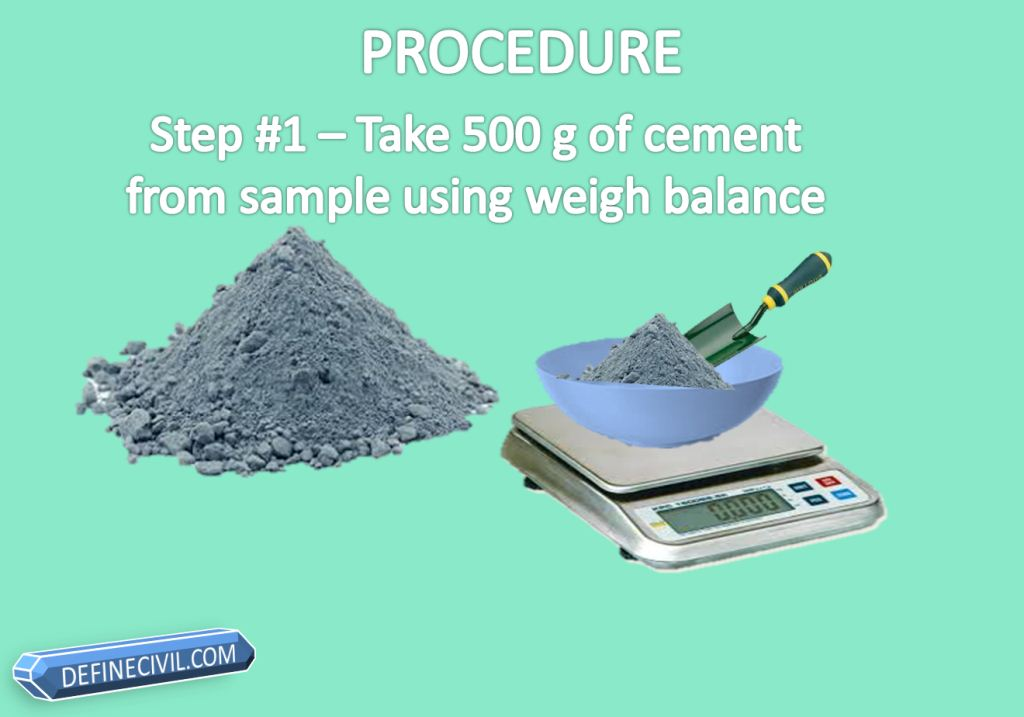 Step#1 Take 500 g of Cement from sample using weigh balance