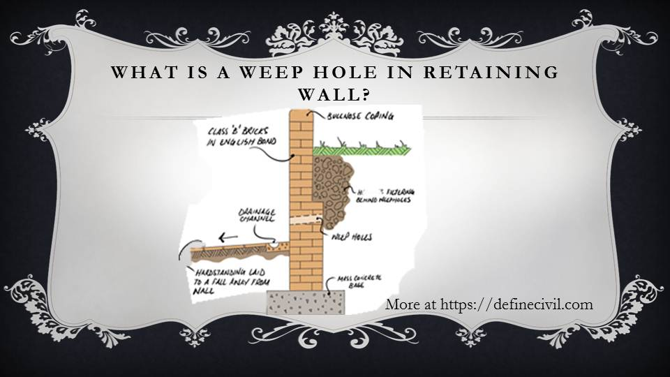 What are weep holes in retaining walls?